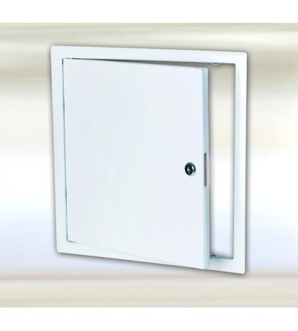 Sistema B3 - trampilla de inspección de chapa de acero blanca / 400 x 400 mm / con cerradura de cilindro redondo