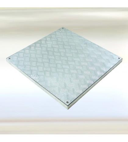 System PRO-RI - Trampilla para pisos. Aluminio estriado 1000x1000 mm Alto 40 mm Marco 1140x1140 Alto 40 mm